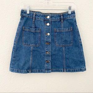 H&M Denim Button Mini Skirt 100% cotton